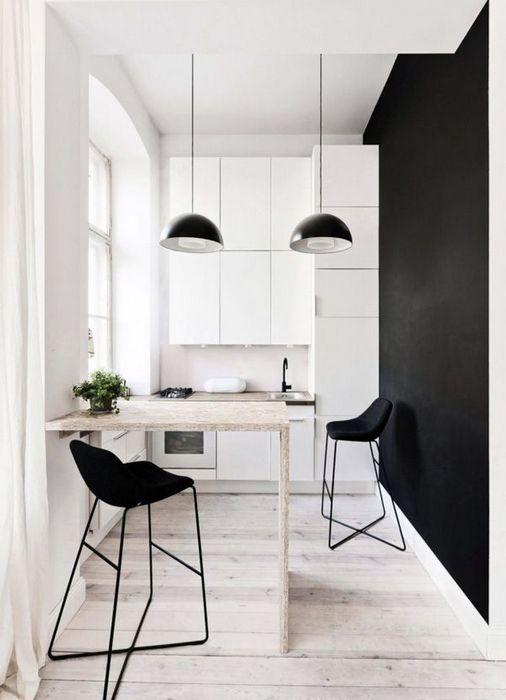 Барная стойка, как зонирующий элемент в квартире-студии.