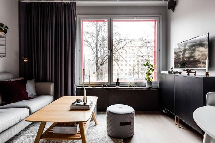 Зона гостиной в маленькой квартире.