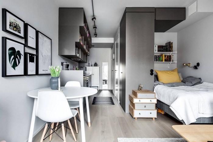 Маленькая квартира с приятным дизайном.