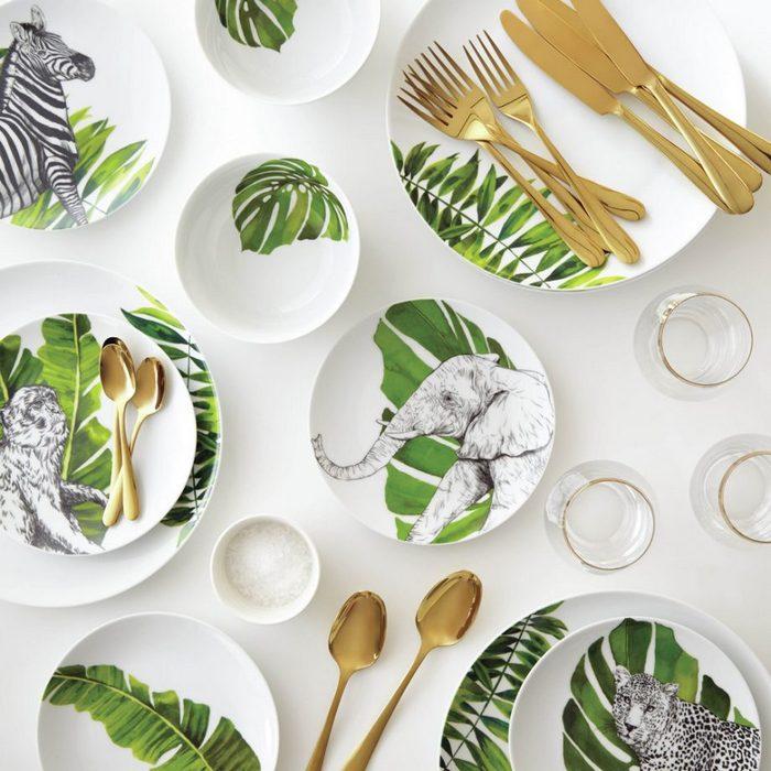 Красивая и модная посуда в тропическом стиле.