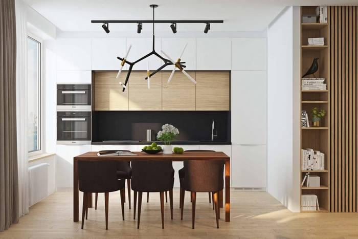 Кухня без ручек смотрится очень стильно и красиво.