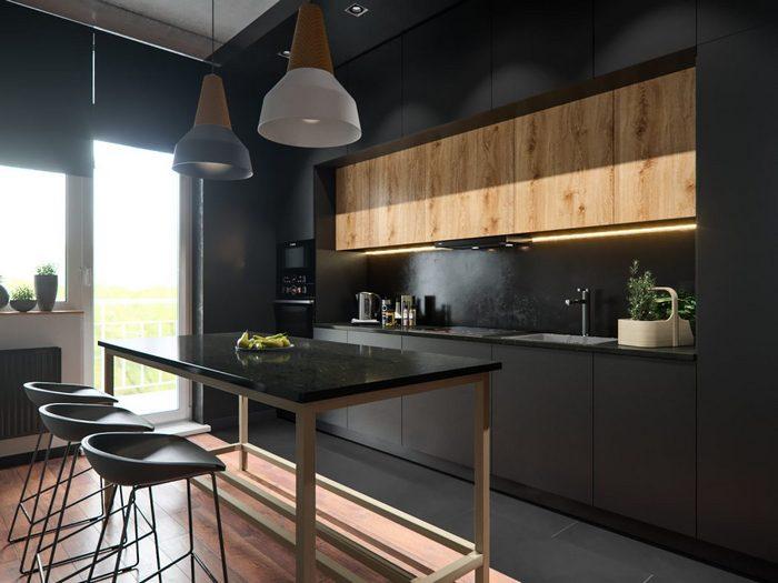Стильная кухня в чёрном цвете.