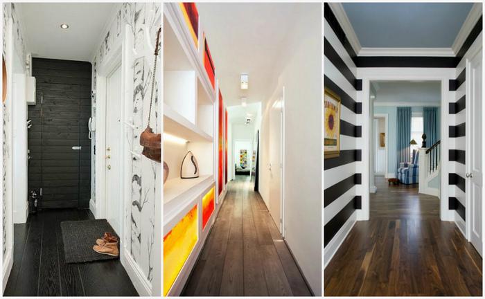 Стильные узкие коридоры.
