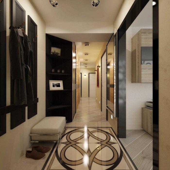 Солидное оформление пола в узком коридоре.
