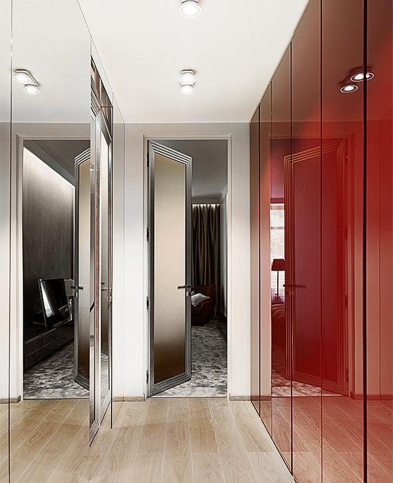 Глянцевые поверхности в узкой комнате.