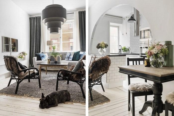 Интерьер оформлен сразу в двух стилях - ар-деко и неоклассика.