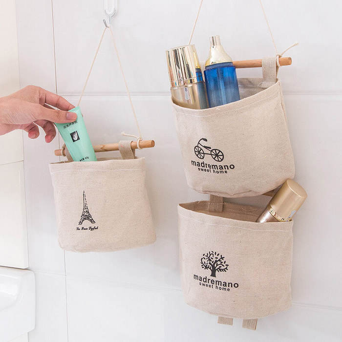 Текстильные мешочки для хранения в ванной.