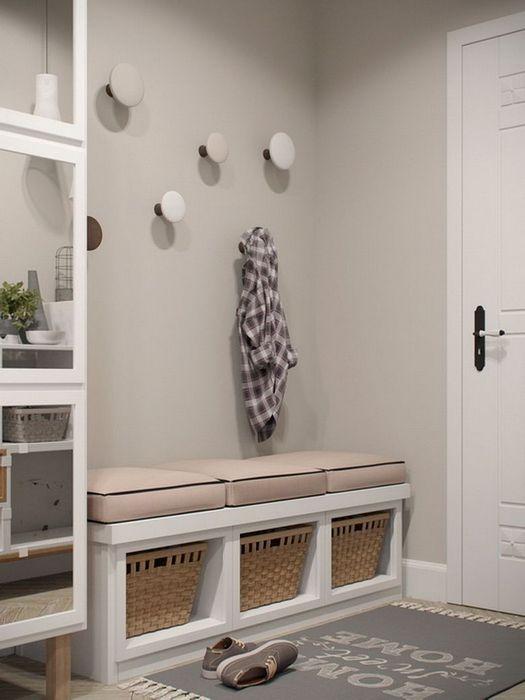 Можно оформить стены не белым цветом, а остановиться на приятном лёгком оттенке.