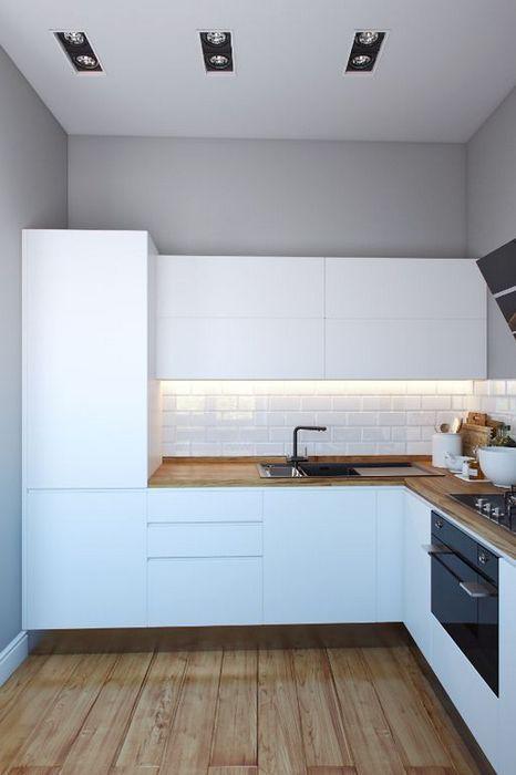 Маленькая кухня в стиле хай-тек.