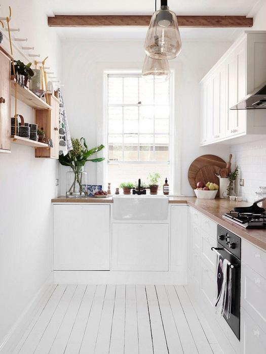 Светлая и красивая кухня в скандинавском стиле.