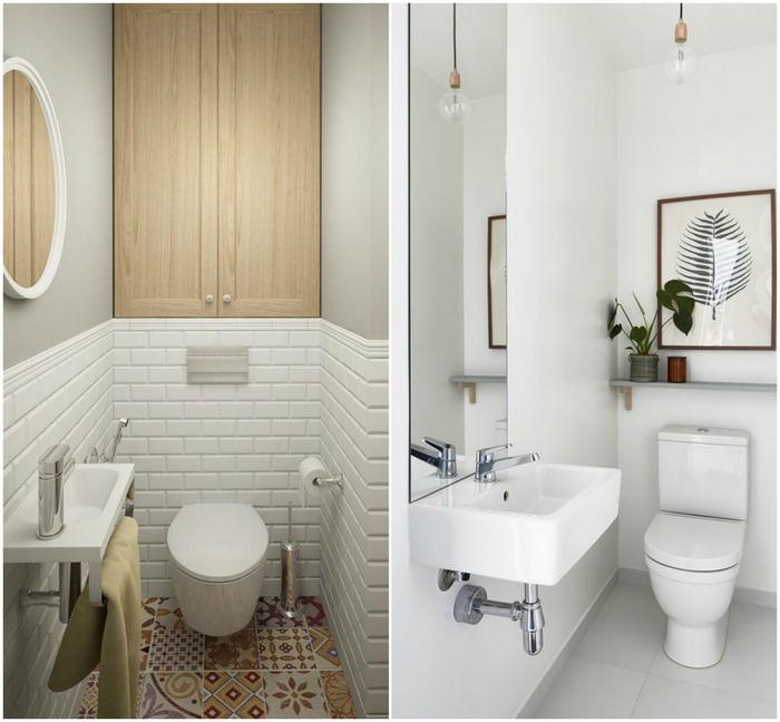 Зеркала в туалете - действенное интерьерное решение.