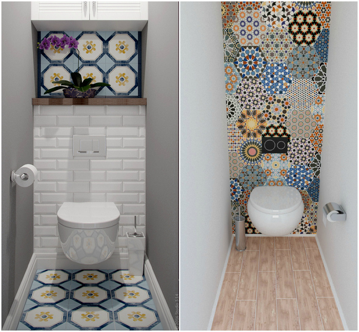 Акцент на стену в маленьком туалете.