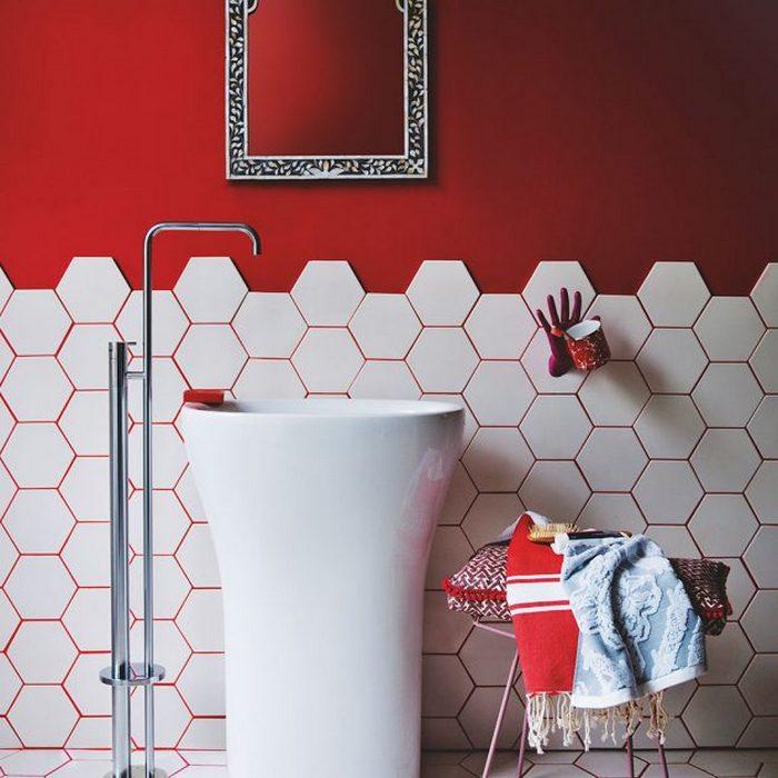 Необычный дизайн маленького туалета.
