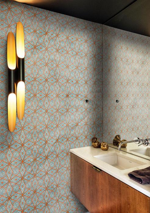 Модные геометрические узоры в дизайне интерьера.