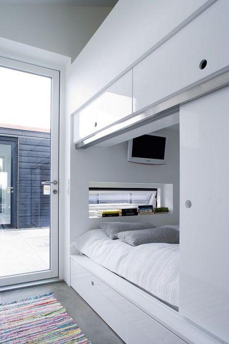 Системы хранения вокруг изголовья кровати.