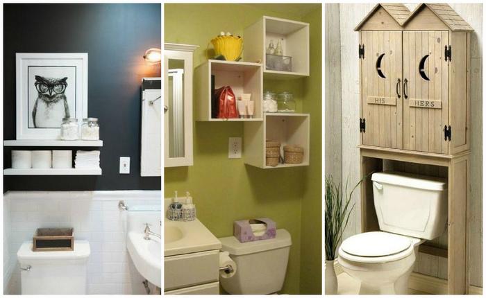 Примеры того, как организовать хранение в туалете.