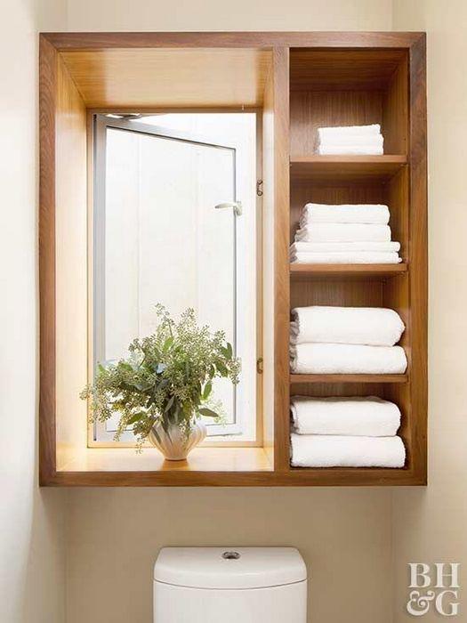Хранение на окне в ванной.