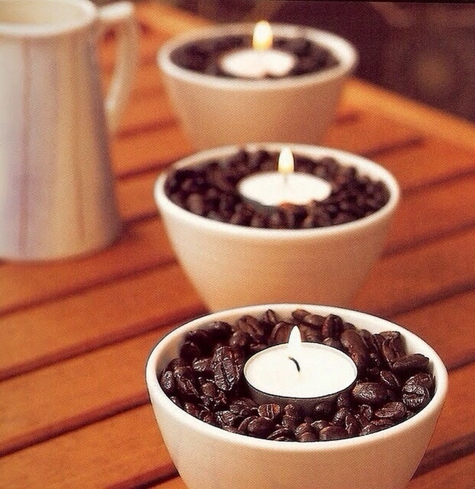 Оригинальные подсвечники с кофе.