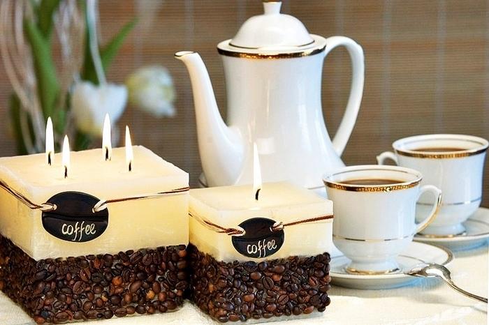 Декор свечей кофе.