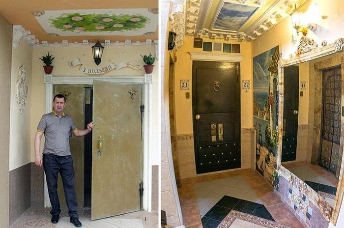 Константин Николаев — ростовский художник, превративший подъезд своего дома в картинную галерею.