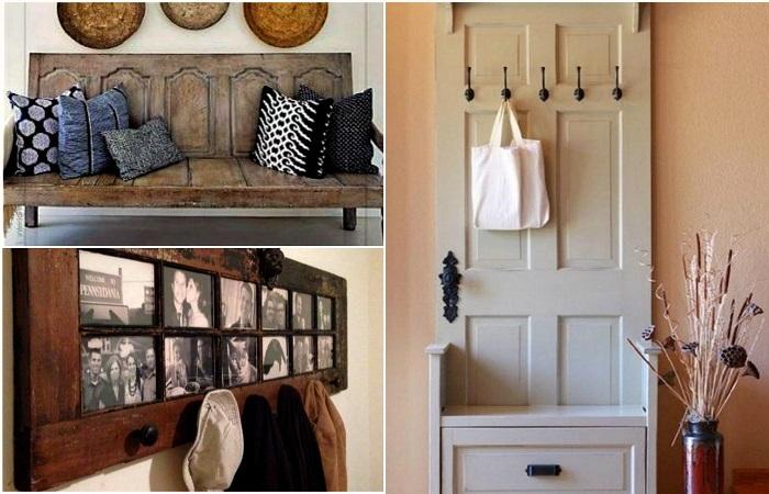 Примеры превращения старых межкомнатных дверей в эксклюзивные вещи