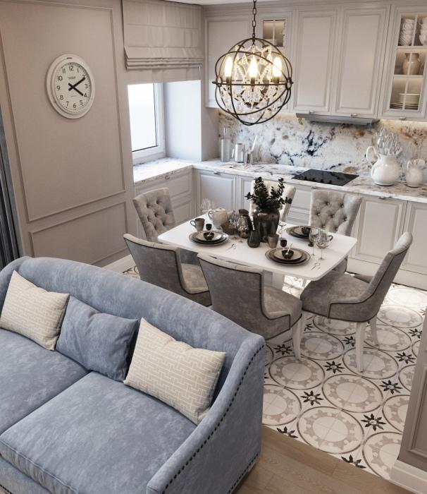 Дизайн-проект недорогой кухни в трехкомнатной квартире от студии IconInteriors.ru.