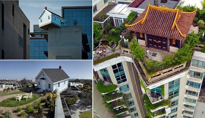 Уютные жилые домики, построенные на крышах многоэтажек.