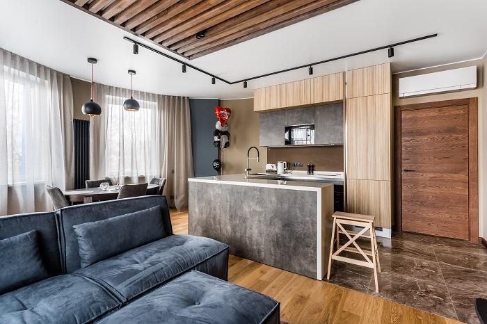 Дымчатный оттенок на кухне в квартире в г. Химки. Ремонт от Icon Interiors.