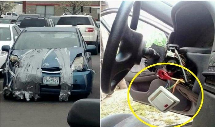 Абсурдный, но изобретательный ремонт автомобилей.