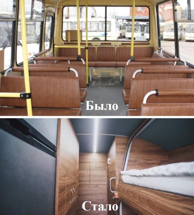 Салон автобуса лишился сидений, но зато теперь здесь можно спать и даже принять душ.