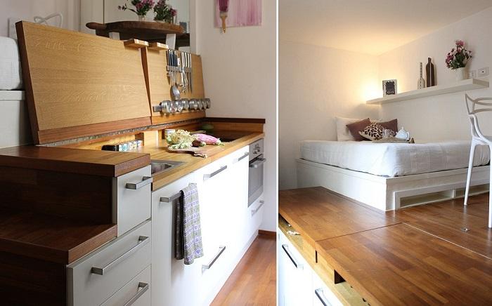 Благодаря двухуровневому расположению, удалось создать полноценную квартиру.