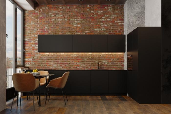 Черная кухня в дизайн-проекте лофта в Москве. Ремонт от Icon Interiors.