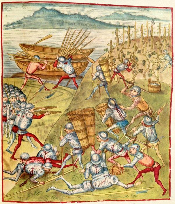 Сражение у Эрленбаха 13 октября 1444 г. Иллюстрация из «Бернской хроники» Диболда Шиллинга (1470).