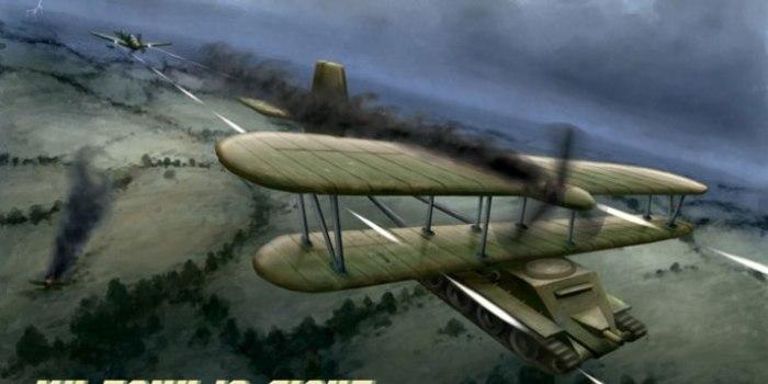 Воздушный бой с участием танка Christie М1932. | Фото: gf9.com.