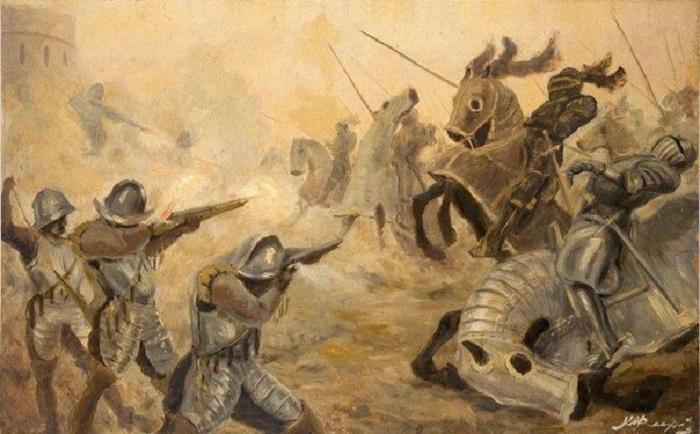 Атака конницы.