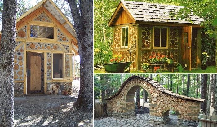 Оригинальные дома из дров и глины.