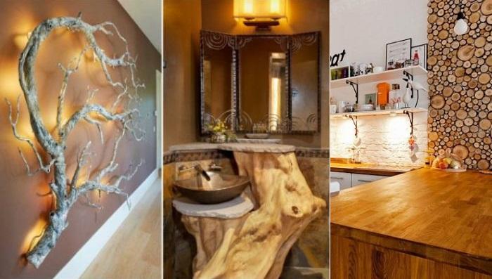 Спилы дерева в интерьере для декора дома (39 фото)