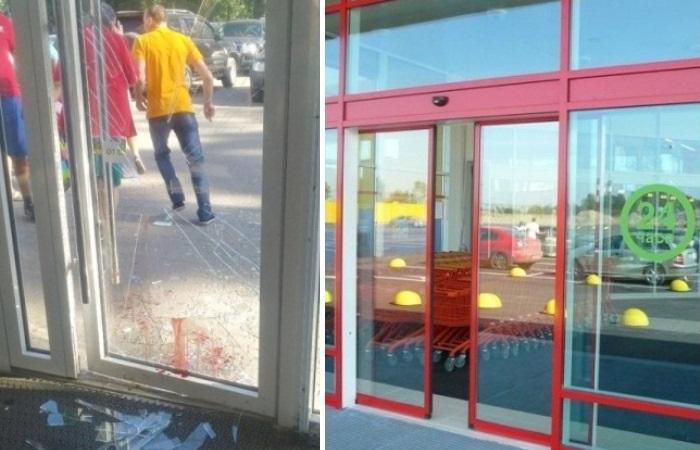 Что делать, если разбил стеклянную дверь в супермаркете.