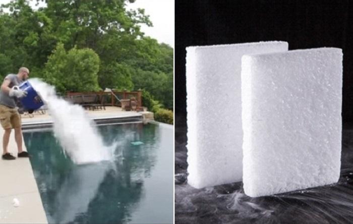 Что будет, если бросить сухой лед в бассейн?