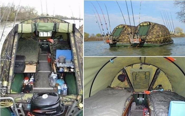 Палатка на плаву - идеальная организация рыбалки.