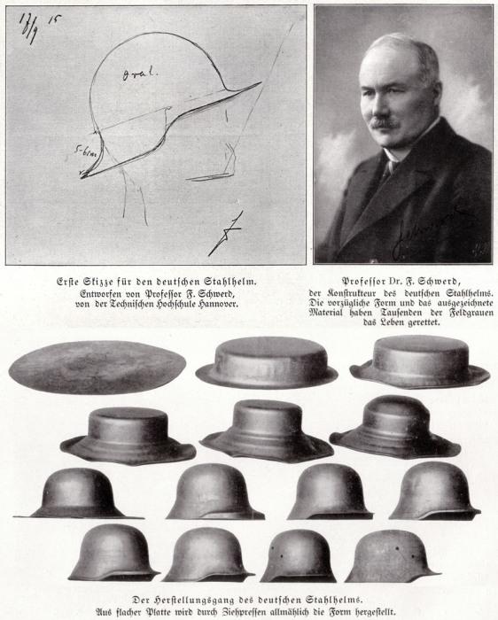 Процесс штамповки каски и автор идеи Stahlhelm M16 доктор Фридрих Шверд.