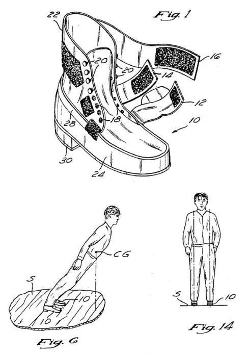 Рисунок из патента обуви с антигравитационным эффектом.