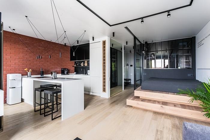 Интерьер квартиры-студии площадью 50 квадратных метров с ремонтом от IconInteriors.ru.
