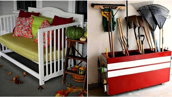 Прекрасные идеи трансформации старых вещей в новые стильные предметы мебели.