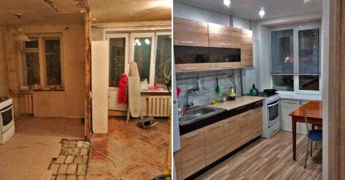 Кухня: было и стало. | Фото: sovkusom.ru.