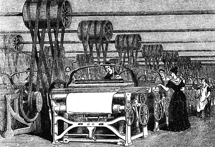 Работницы на текстильной фабрике, конец XVIII века.