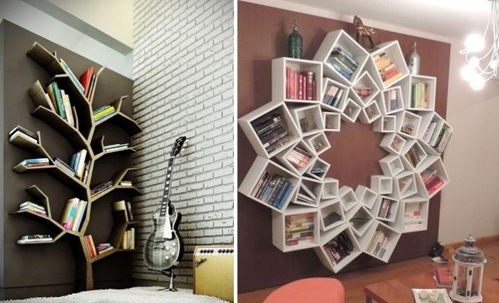 Оригинальные и интересные идеи для полок с книгами.