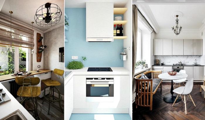 Интересные идеи по обустройству маленьких кухонь.