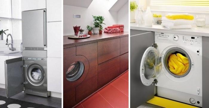 Варианты размещения стиральной машинки на кухне.