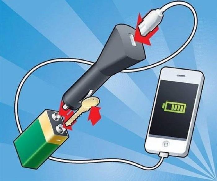 Как зарядить смартфон при помощи 9-вольтовой «Кроны».